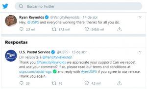 Ator Ryan Reynolds elogia correios norte-americano