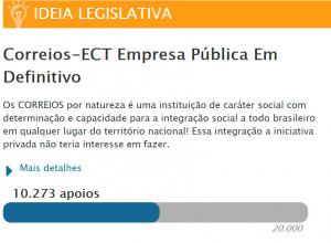 Read more about the article Correios – empresa pública em definitivo – já temos 10.271 votos!
